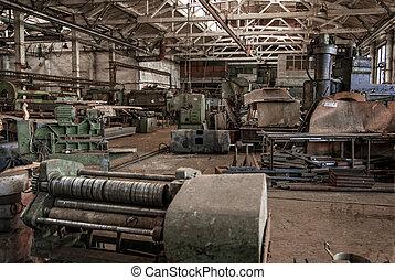 edificio, viejo, abandonado, color, fábrica, interior.