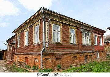 edificio, viejo, de madera, apartments!, yuriev-polsky, rusia