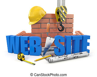 Edificio Web. Crane, pared y herramientas. 3D