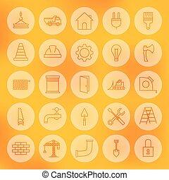 Edificio web de círculos y iconos de construcción