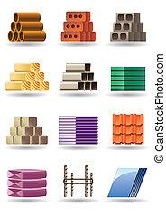 edificio, y, construcciones, materiales