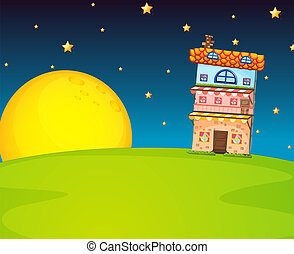 Edificio y luna