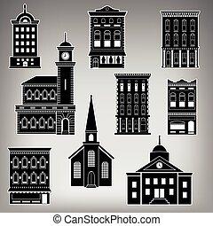 edificios, calle principal