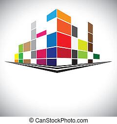 Edificios coloridos del cielo urbano con rascacielos, torres altas y calles en colores como rojo, naranja, marrón, azul y púrpura