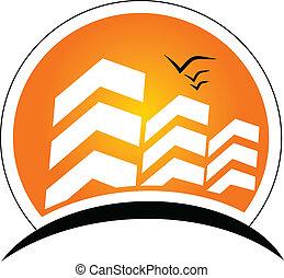 Edificios con logotipo solar