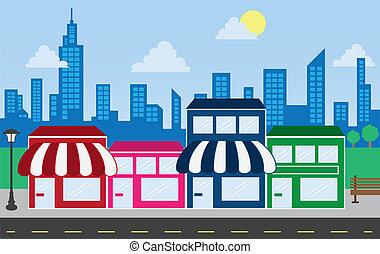 edificios, contorno, tienda, frentes