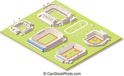 Edificios de estadios isometricos preparados