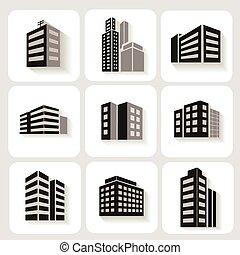 edificios de oficinas, torre, iconos, gris, dimensional, retratar, conjunto, blanco, sombra, bloques, comercial