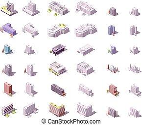 Edificios de Vector Isometric City establecidos