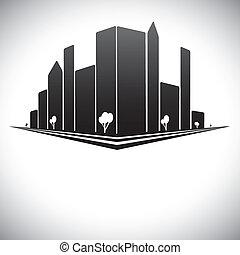 Edificios del centro en B y W de la ciudad moderna con rascacielos, árboles, torres altas y calles en sombras de negros, blancos y grises