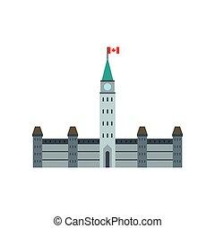 Edificios del Parlamento, icono ottawa, estilo plano