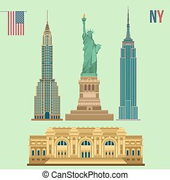 Edificios famosos de Nueva York: estatua de la libertad, museo metropolitano del arte, Empire State, edificio Chrysler