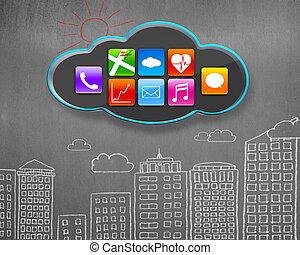 edificios, iconos, pared, app, concreto, negro, doodles, nube