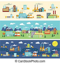 edificios, industria, banderas horizontales