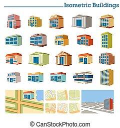 Edificios isométricos y mapas. Vector