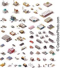 Edificios isometricos Vectores establecidos