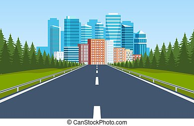 edificios, manera, horizonte, camino, ciudad