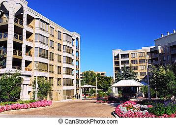 edificios, moderno, condominio