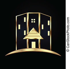 Edificios modernos. Logotipo de bienes raíces