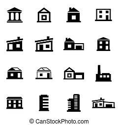 Edificios negros Vector establecidos