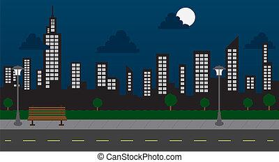 edificios, noche, parque, calle