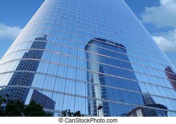 Edificios rascacielos de rascacielos de cristal azul