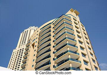 edificios, unido, moderno, árabe, highrise, emiratos, dubai