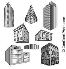 edificios, vector, conjunto
