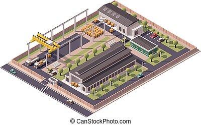 edificios, vector, isométrico, icono, fábrica