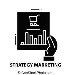 editable, negro, estrategia, icono, ilustración, golpes, concepto, vector, mercadotecnia, señal