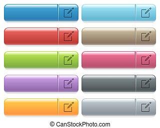 Editbox con iconos de lápiz en color brillante, botón del menú rectangular