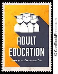 Educación adulta en amarillo en diseño plano.