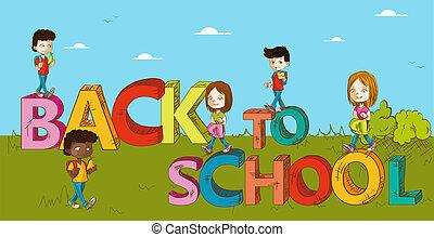 Educación de vuelta a los dibujos de niños de la escuela.