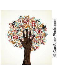 Educación escolar mano de árbol