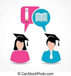 educación, estudiante masculino, hembra, y