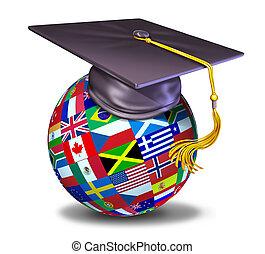 Educación internacional con gorra de graduación