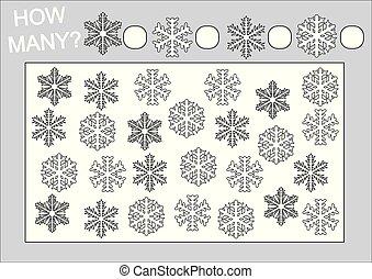 Educación para niños. Cuenta cuántos copos de nieve y páginas de color. Ilustración de vectores.