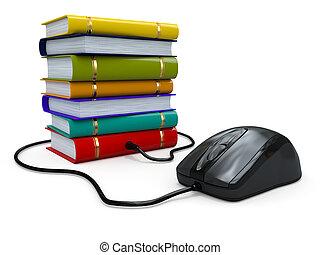 Educación por Internet. Libros y ratón informático.