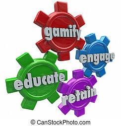 educar, ocupar, gamify, estudiantes, clientes, juegos, conservar