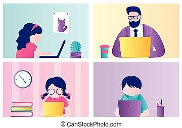education., en línea, estancia, bandera, computer., hogar, niños, escuela, ocupado