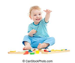 educativo, aislado, alegre, juguetes, blanco, niño, juego, feliz