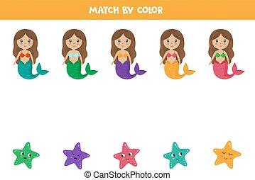 educativo, sirenas, estrellas de mar, colors., igual, worksheet.