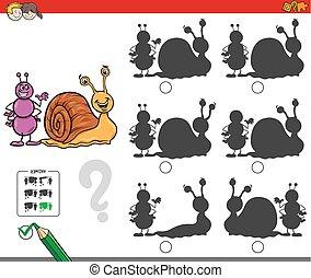 educativo, sombra, juego, caracol, hormiga