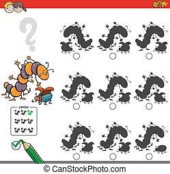 educativo, sombra, juego, insecto, caracteres