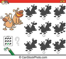 educativo, sombra, juego, perro, caracteres