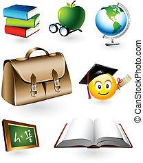 educativo, vector, elementos