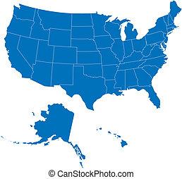 EE.UU. 50 estados de color azul