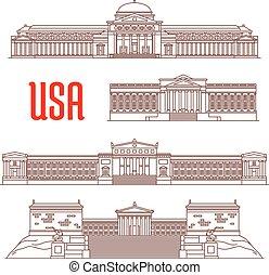 EE.UU. viaja icono de puntos de vista arquitectónicos