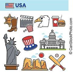EE.UU. Viaja por lugares históricos símbolos y símbolos de atracción turística americana
