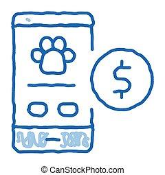 efectivo, animales, garabato, icono, en línea, ayuda, dibujado, ilustración, mano